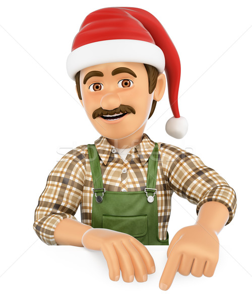 3D Gardener pointing down with a Santa Claus hat. Blank space Stock photo © texelart