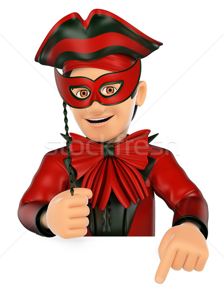 3D Man with a carnival costume pointing down. Blank space Stock photo © texelart