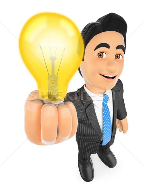 3D Businessman with a lit light bulb. Idea concept Stock photo © texelart