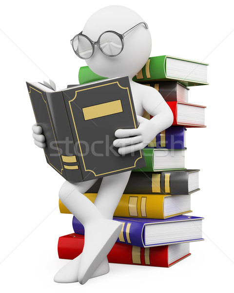 3D white people. Student reads a book Stock photo © texelart