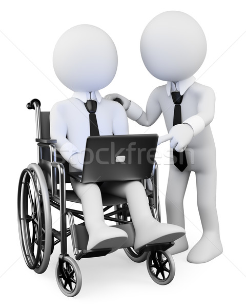 3D white people. Disabled businessman working with a partner Stock photo © texelart