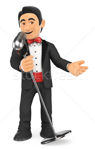 3D Tuxedo singer with microphone. Crooner Stock photo © texelart