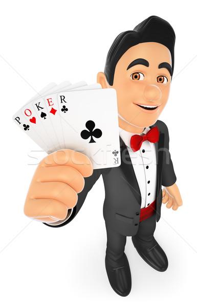 3D Tuxedo man with poker cards Stock photo © texelart