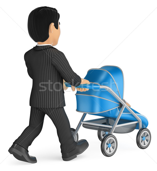 3D Businessman pushing a baby stroller Stock photo © texelart