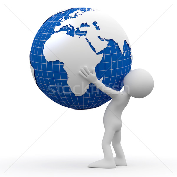 Stock photo: Man holding Earth with his hands
