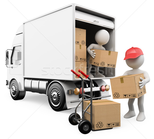 Foto stock: 3D white people. Workers unloading boxes from a truck
