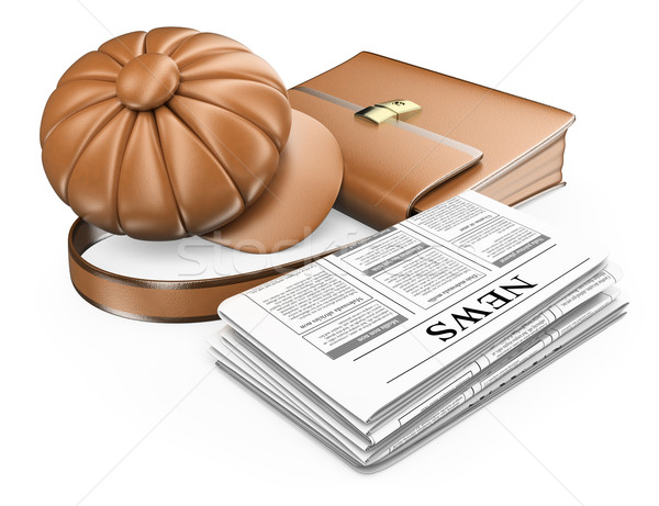 3D Cap briefcase and newspaper. Latest news concept Stock photo © texelart