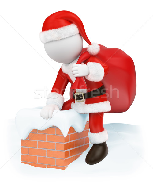 3D white people. Santa Claus coming down a chimney Stock photo © texelart