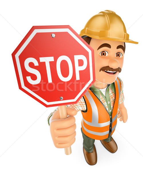 3D travailleur de la construction arrêter signal travail personnes Photo stock © texelart