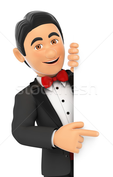 3D Tuxedo man pointing aside. Blank space Stock photo © texelart
