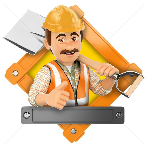3D logo trabajador pala ilustración aislado Foto stock © texelart