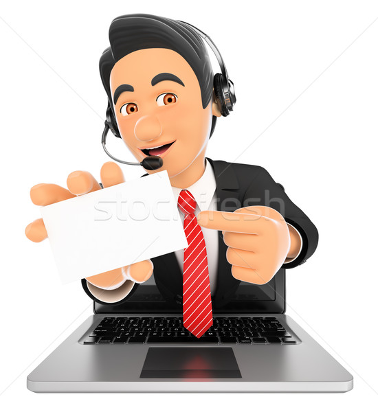 3D Call center employee coming out a laptop screen with a blank  Stock photo © texelart