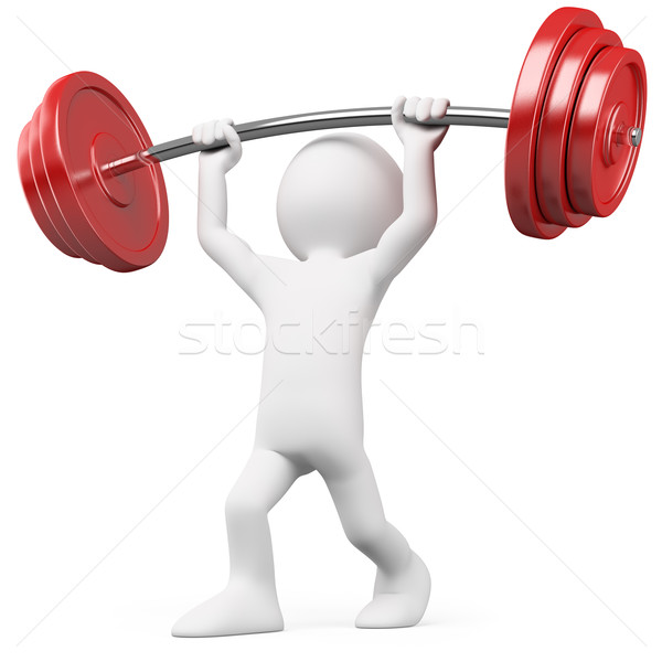 Athlete lifting weights Stock photo © texelart
