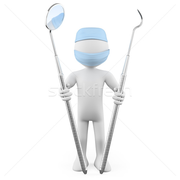 Dentist standing with mouth mirror and periodontal scaler Stock photo © texelart