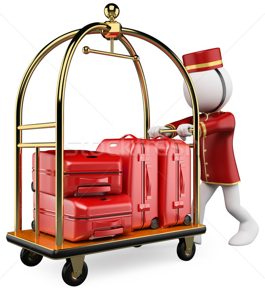 3D white people. Hotel luggage cart Stock photo © texelart