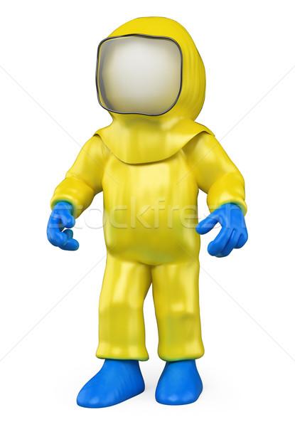 Stock photo: 3D white people. Isolation suit. Biohazard