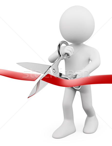 3D white people. Man with scissors cutting red ribbon Stock photo © texelart