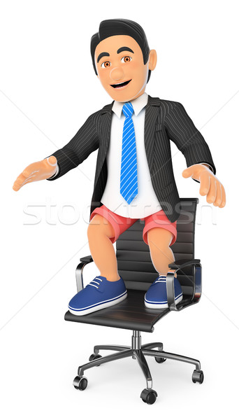 3D biznesmen szorty krzesło biurowe wakacje ludzi biznesu Zdjęcia stock © texelart