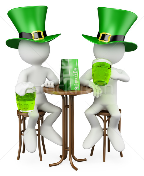 3D white people. Friends in the St. Patrick's Day Stock photo © texelart