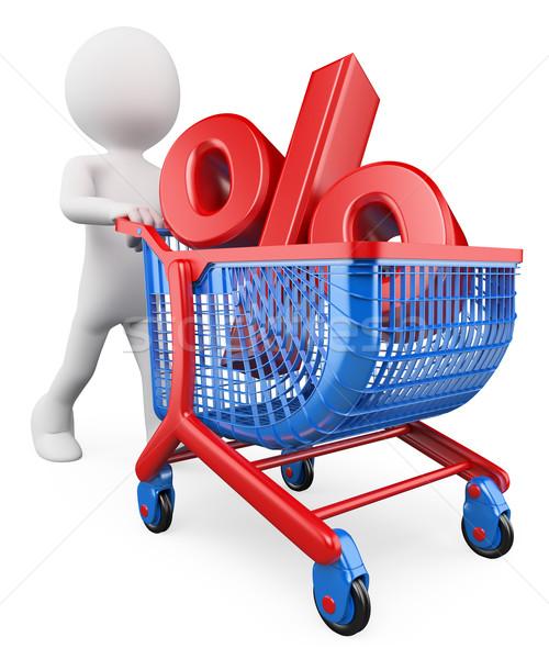 3D blancs pour cent taux réduction financement Photo stock © texelart