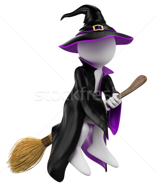 3D white people. Halloween. Witch on her broomstick Stock photo © texelart
