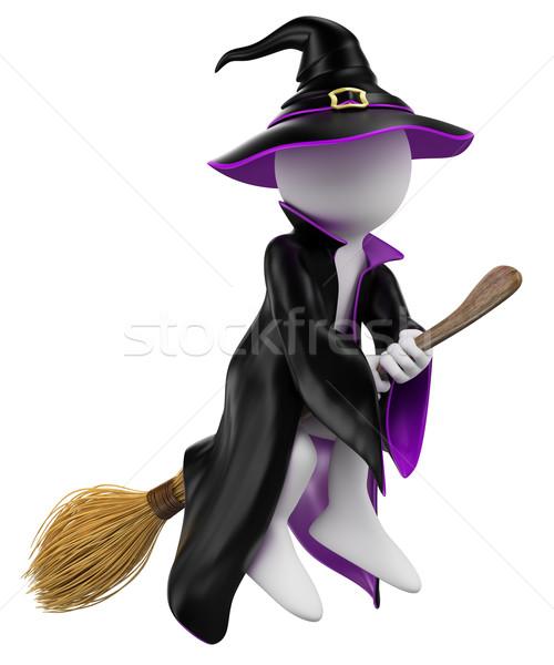 3D i bianchi halloween strega manico di scopa battenti Foto d'archivio © texelart