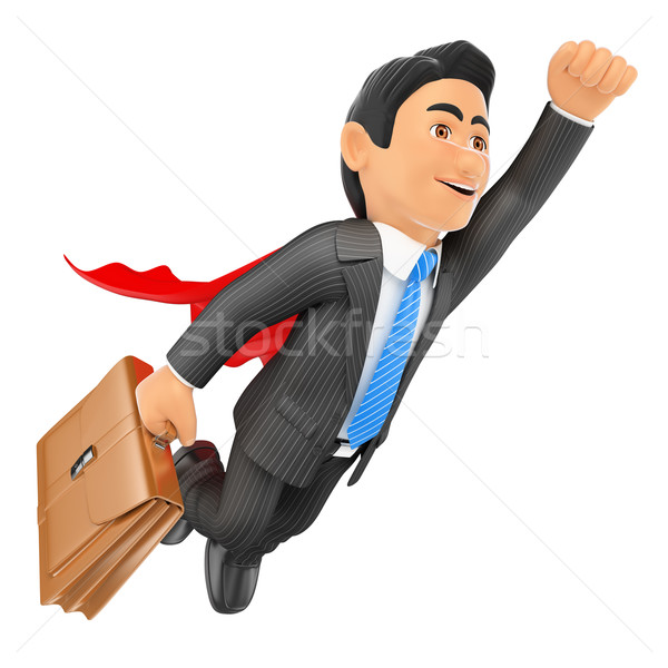 3D Super businessman flying with cape and briefcase Stock photo © texelart