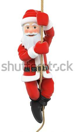 3D Santa Claus climbing a rope Stock photo © texelart