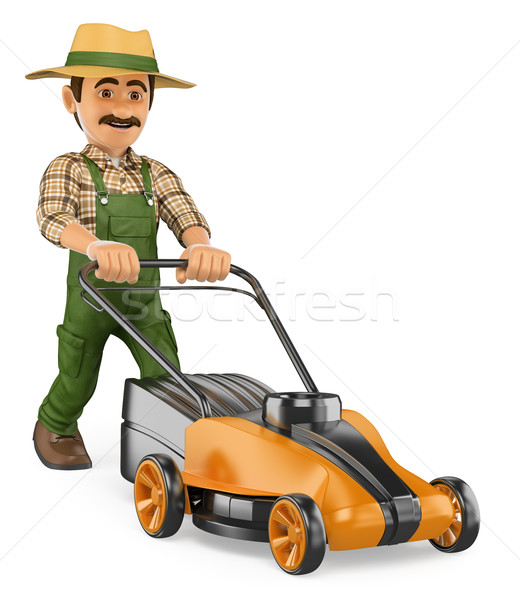3D Gardener pushing a power mower Stock photo © texelart