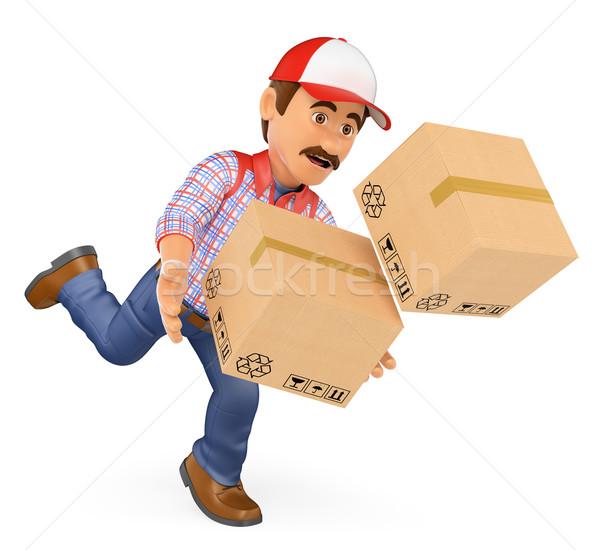 3D cadere scatole lavoro incidente Foto d'archivio © texelart