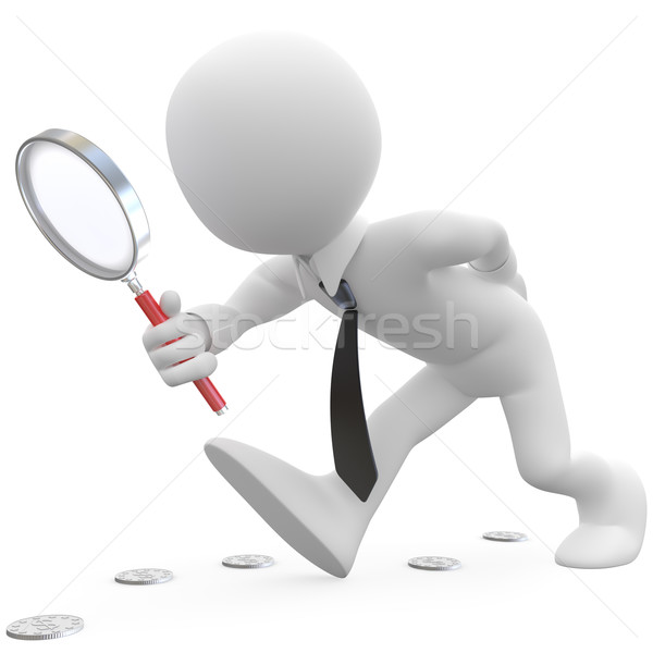 Stock photo: Businessman with magnifying glass looking for coins