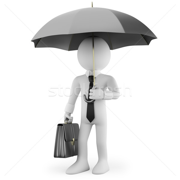 Businessman with an umbrella and a briefcase waiting Stock photo © texelart