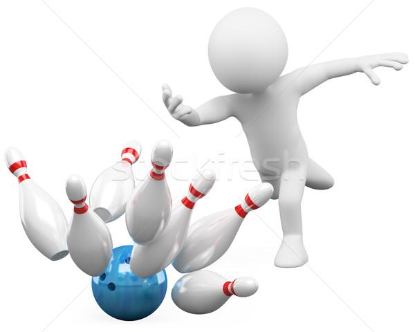 3D biali ludzie bowling biały osoby Zdjęcia stock © texelart