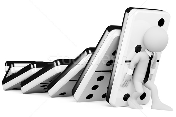3D business white people. Stopping a chain reaction of dominoes  Stock photo © texelart