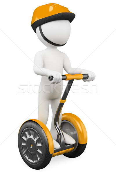 Stock photo: 3D white people. Ecological alternative transportation