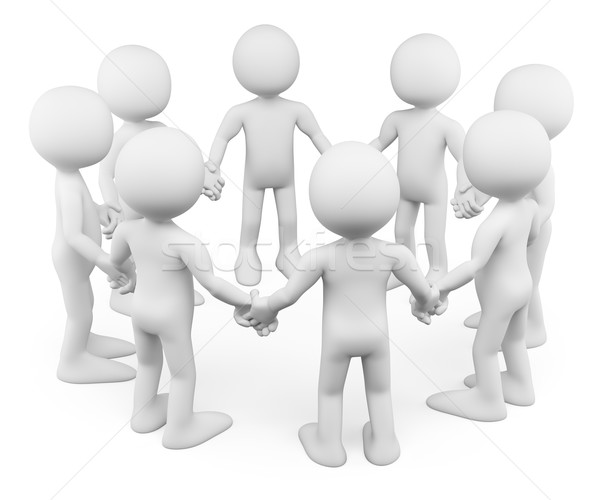 3D white people. All work together hand in hand Stock photo © texelart