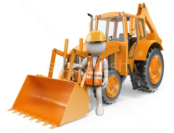 3D white people. Worker with a backhoe loader. Digger Stock photo © texelart