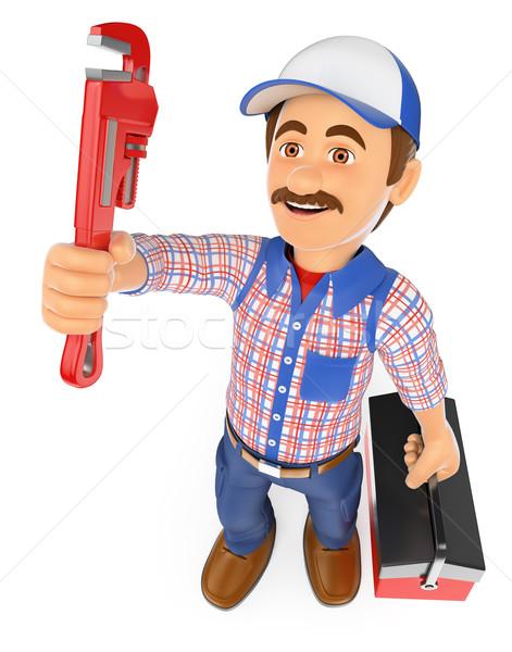 3D loodgieter pijp sleutel toolbox werken Stockfoto © texelart