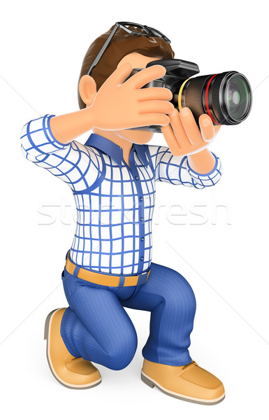 3D Photographer kneeling with his SLR camera Stock photo © texelart