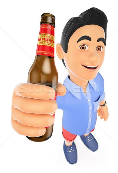 3D jeune homme short bouteille bière jeunes Photo stock © texelart