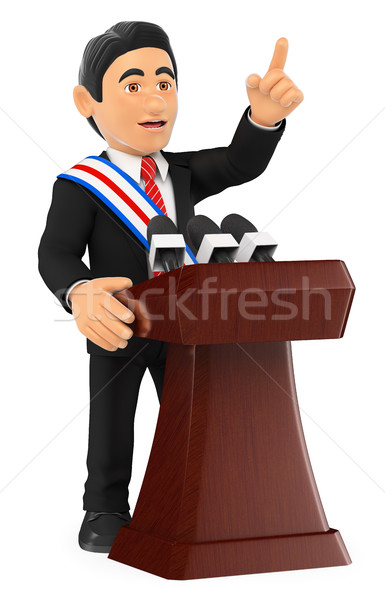 3D Politician giving a speech of investiture. President Stock photo © texelart