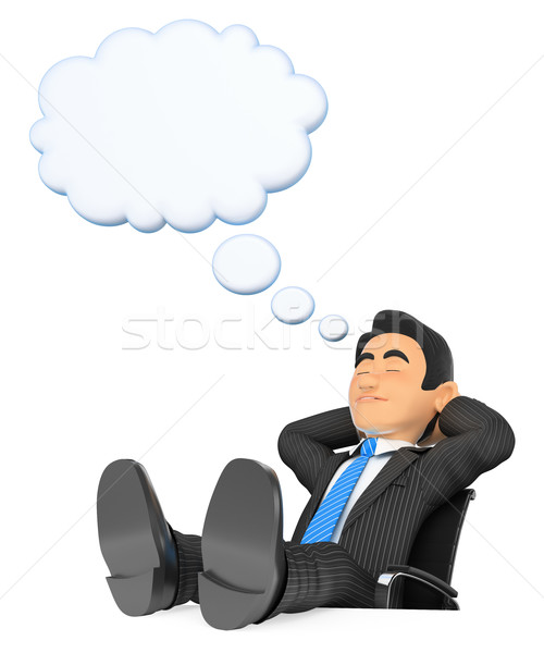 3D Businessman sleeping with  feet up and thinking bubble Stock photo © texelart