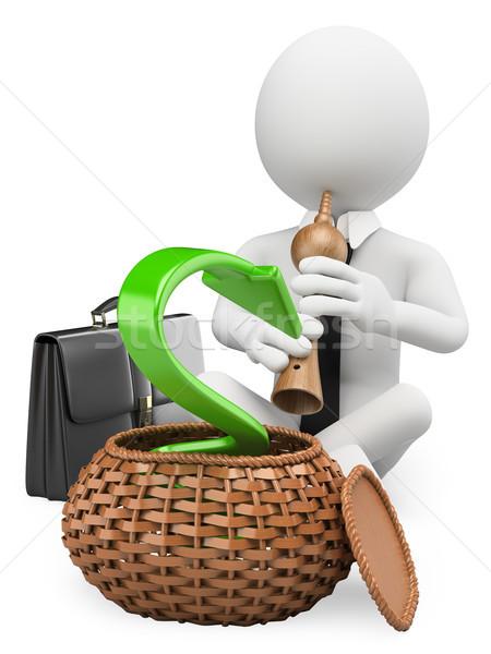 3D biali ludzie gospodarki biały pracy Zdjęcia stock © texelart