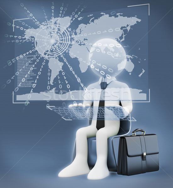 3D белые люди виртуальный глобальный Мир бизнеса Сток-фото © texelart