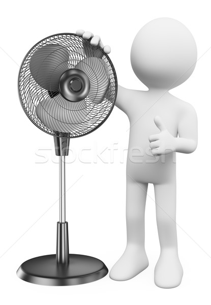3D white people. Man with a standing fan Stock photo © texelart