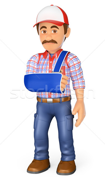 3D Worker with arm in sling. Occupational accident Stock photo © texelart