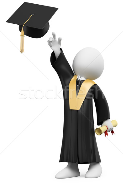 Stock photo: 3D student dressed in cap and gown on graduation day