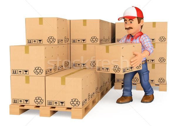 3D dozen magazijn werken mensen geïsoleerd Stockfoto © texelart