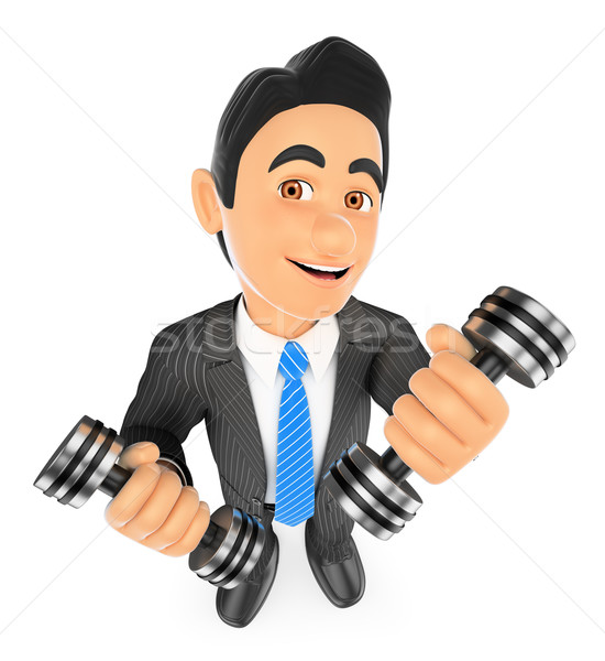 3D Businessman exercising with two dumbbells fitness. Overcoming Stock photo © texelart
