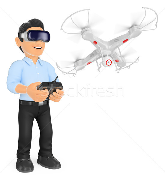3D Young man piloting a drone with virtual reality glasses Stock photo © texelart